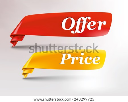 red & yellow ribbon with offer and price tag - stock vector