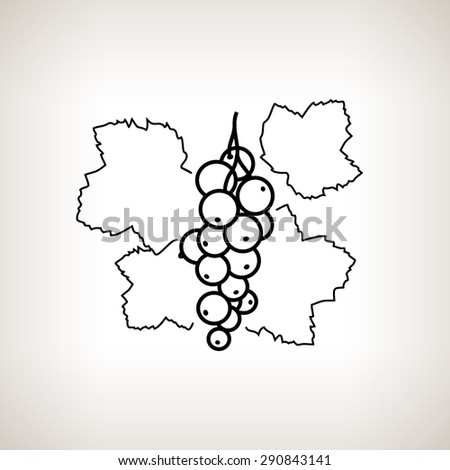Redcurrant ,Image Red Currant in the Contours on a Light Background, Black and White Vector Illustration - stock vector
