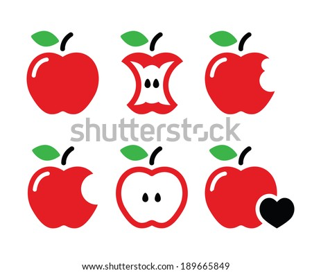 Redd Apple, apple core, bitten, half vector icons  - stock vector