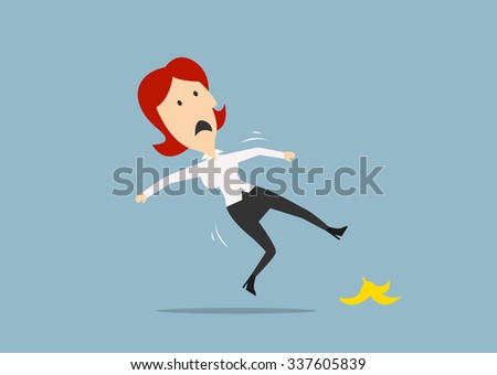 Redhead businesswoman slipped on a banana peel and falling down on the floor. Cartoon flat style - stock vector