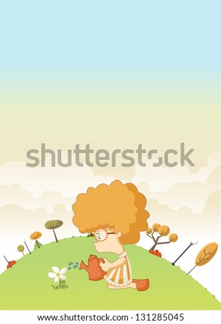 Redhead curly girl in green park watering a flower - stock vector