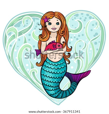 Redhead cute cartoon mermaid with little fish. Heart background made of seaweed. Valentine's day card.