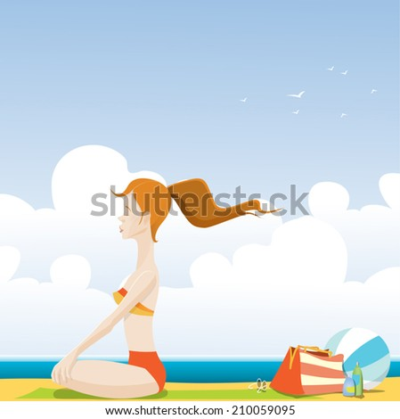 Redhead girl sitting on the green towel and meditating by the sea. - stock vector