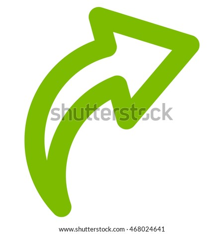 Redo vector icon. Style is linear flat icon symbol, eco green color, white background.