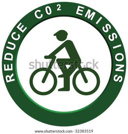 Reduce Carbon Emissions Pushbike - stock vector