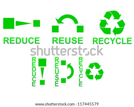 Reduce, reuse and recycle symbols concept illustration - stock vector