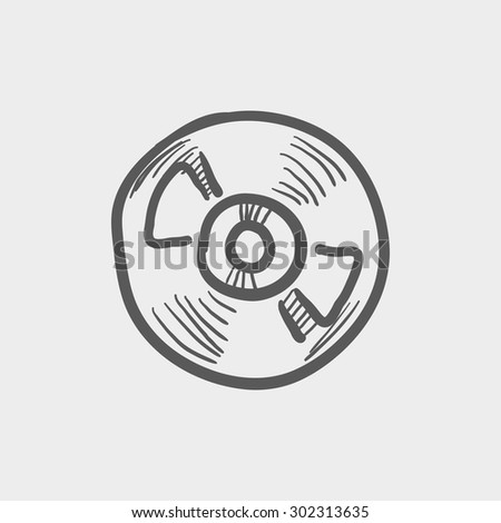 Reel tape deck player recorder sketch icon for web and mobile. Hand drawn vector dark grey icon on light grey background. - stock vector
