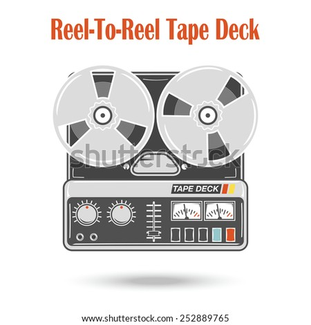 Reel to reel tape deck. Isolated, retro style audio recorder. Hi-fi stereo sound system, music technology. Vector electronic object. - stock vector
