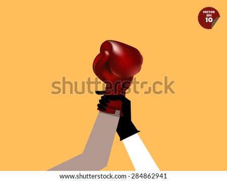 referee declaring the boxing winner,winner concept - stock vector