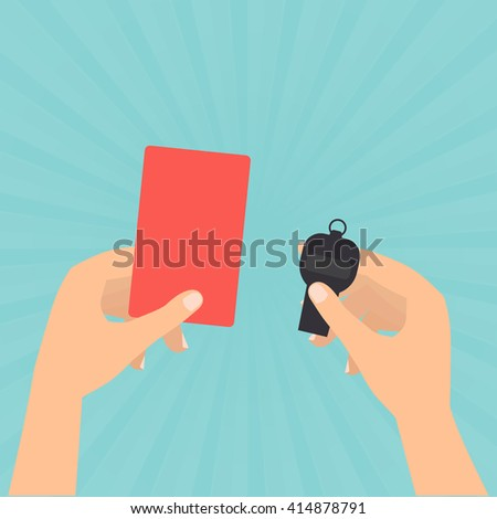 Referee hands hold a red card and whistle on sun rays green background.  - stock vector