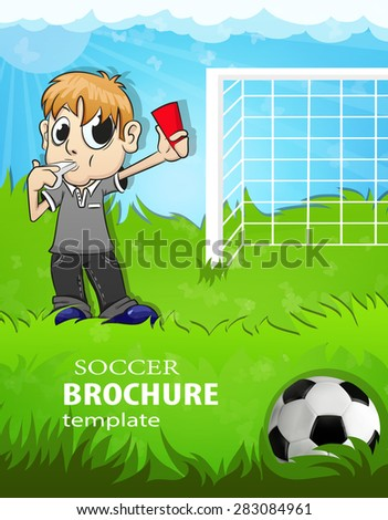 Referee on the soccer field shows a red card - stock vector