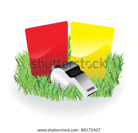 Referee Whistle and Cards - stock vector