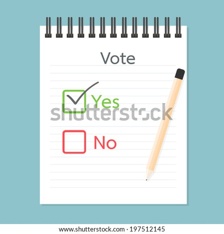 Referendum clipboard, Vote Yes and No - stock vector