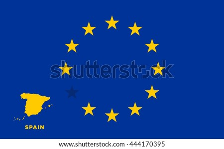 Referendum of the Spain membership of the European Union. EU flag with the country of Spain. The concept of leaving EU. Vector illustration - stock vector