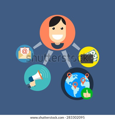 Referral marketing concept. Flat design. Isolated on color background - stock vector
