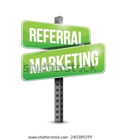 referral marketing sign illustration design over a white background - stock vector