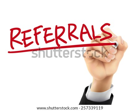 referrals word written by hand on a transparent board - stock vector