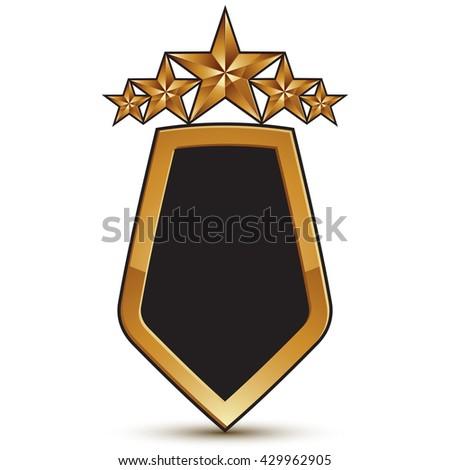 Refined vector emblem with five golden stars, 3d festive design shield element, clear EPS 8. - stock vector