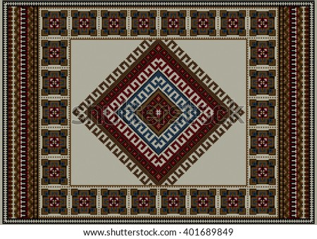 Refined vintage ethnic carpet with beige at the middle  - stock vector