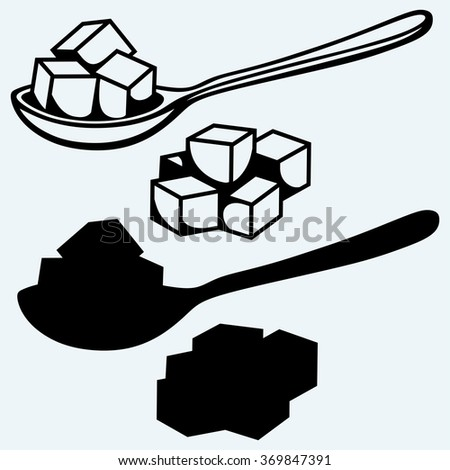 Refined white sugar, spoon. Isolated on blue background. Vector silhouettes