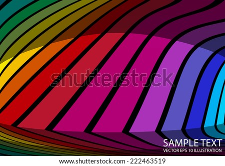 Reflected colorful background abstract illustration - Vector colorful striped background template reflected - stock vector