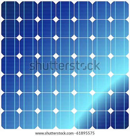 Reflection in solar panels. Vector. - stock vector