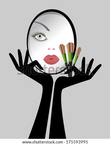 Reflection of female face in Mirror Makeup brushes gloves - stock vector