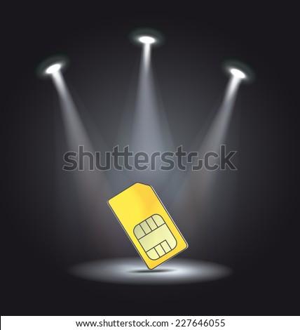 reflector light phone sim card vector - stock vector