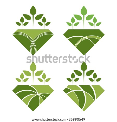 Reforestation and agricultural conceptual design. - stock vector