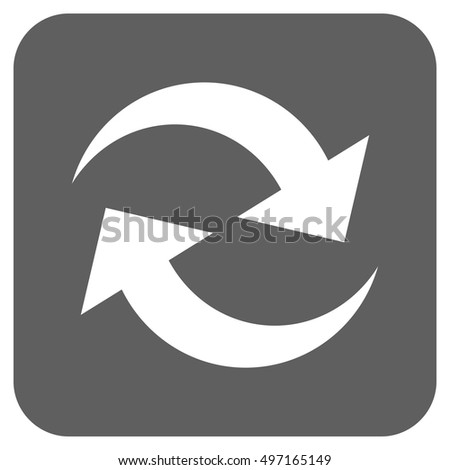 Refresh Arrows vector icon. Image style is a flat icon symbol on a rounded square button, white and silver gray colors.
