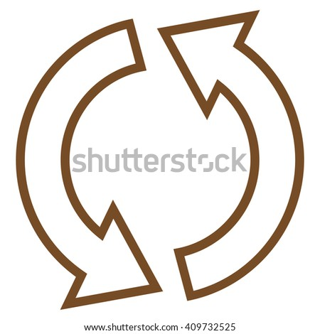 Refresh Arrows vector icon. Style is thin line icon symbol, brown color, white background. - stock vector