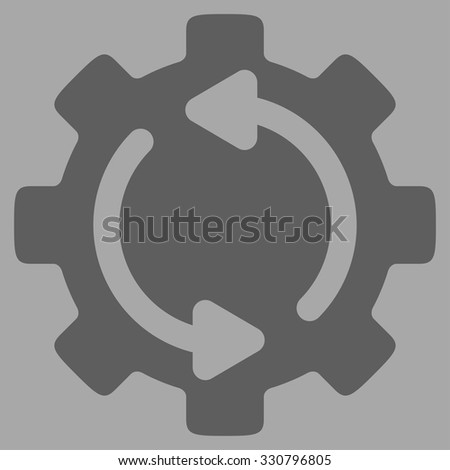 Refresh Engine vector icon. Style is flat symbol, dark gray color, rounded angles, silver background. - stock vector