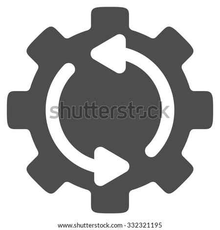 Refresh Engine vector icon. Style is flat symbol, gray color, rounded angles, white background. - stock vector