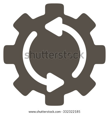 Refresh Engine vector icon. Style is flat symbol, grey color, rounded angles, white background. - stock vector
