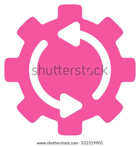 Refresh Engine vector icon. Style is flat symbol, pink color, rounded angles, white background. - stock vector