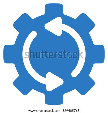 Refresh Engine vector icon. Style is flat symbol, smooth blue color, rounded angles, white background. - stock vector
