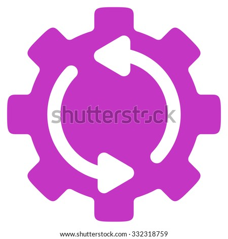 Refresh Engine vector icon. Style is flat symbol, violet color, rounded angles, white background. - stock vector