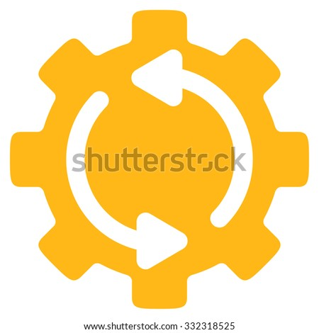 Refresh Engine vector icon. Style is flat symbol, yellow color, rounded angles, white background. - stock vector