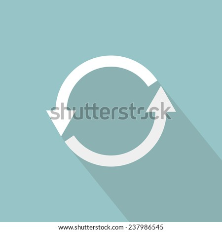 Refresh icon. Flat design with long shadow - stock vector