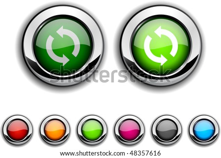 Refresh realistic buttons. Vector illustration. - stock vector