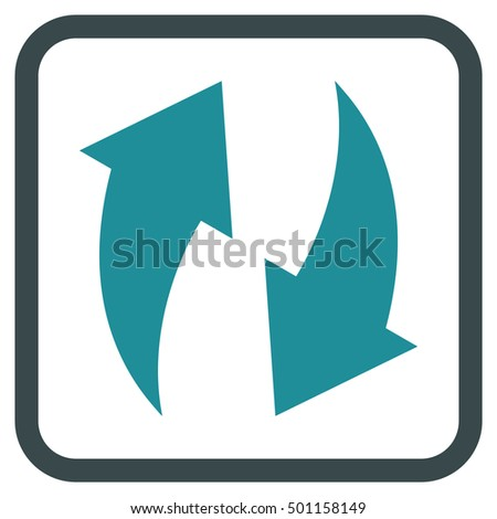Refresh soft blue vector icon. Image style is a flat pictogram symbol in a rounded square frame on a white background.
