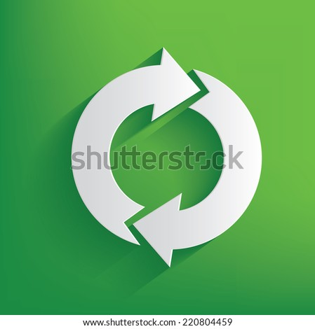 Refresh symbol on green background,clean vector - stock vector