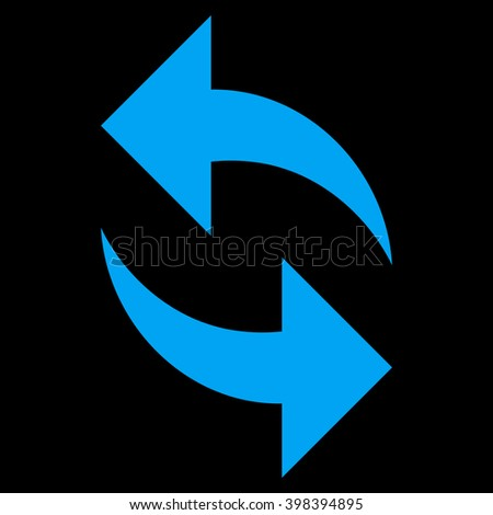 Refresh vector icon. Style is flat icon symbol, blue color, black background. - stock vector