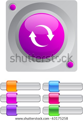 Refresh vibrant round button with additional buttons.