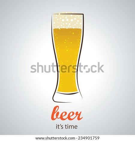 Refreshing Beer in Pilsner glass - Stylish and minimalist vector background - stock vector