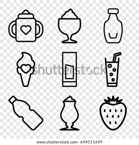 Refreshment icons set. set of 9 refreshment outline icons such as baby bottle, milkshake, soda, ice cream, bottle, drink