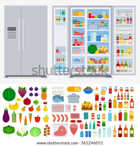 Refrigerator collection vector flat illustration. Cooking and kitchen concept. Refrigerators in the room, variety of fruits and vegetables, meat, beverages isolated on white background  - stock vector