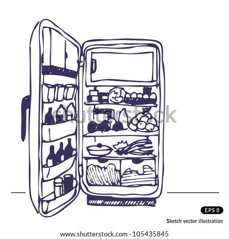 Refrigerator. Hand drawn sketch illustration isolated on white background - stock vector