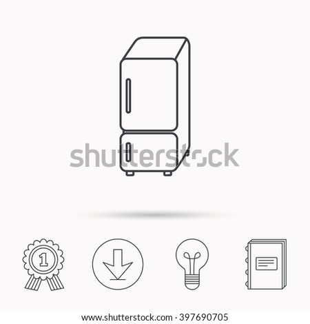 Refrigerator icon. Fridge sign. Download arrow, lamp, learn book and award medal icons. - stock vector