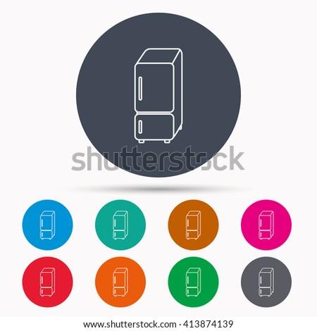 Refrigerator icon. Fridge sign. Icons in colour circle buttons. Vector - stock vector